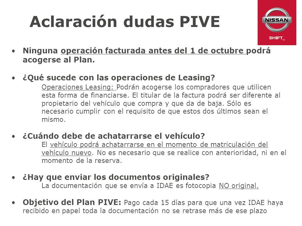Aclaración dudas PIVE Ninguna operación facturada antes del 1 de octubre podrá acogerse al Plan. ¿Qué sucede con las operaciones de Leasing? Operacion