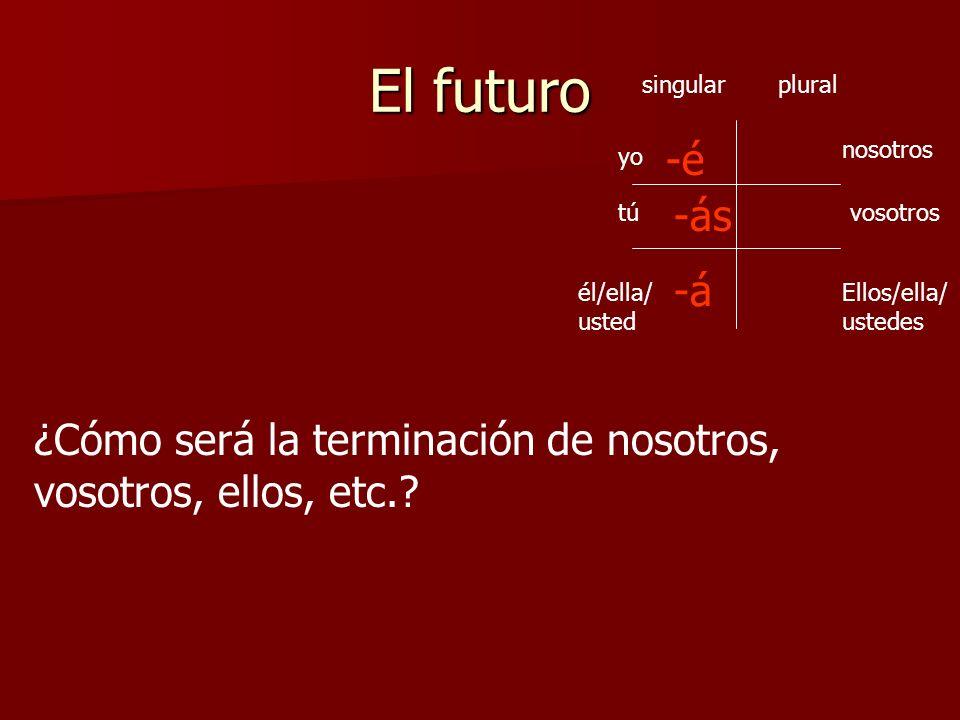 El futuro -á yo Ellos/ella/ ustedes vosotros nosotros tú él/ella/ usted singularplural -é -ás -emos -án -éis ¿Cómo será la terminación de nosotros, vo