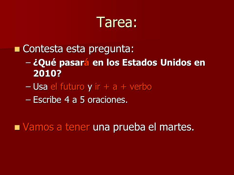 Tarea: Contesta esta pregunta: Contesta esta pregunta: –¿Qué pasará en los Estados Unidos en 2010? –Usa el futuro y ir + a + verbo –Escribe 4 a 5 orac