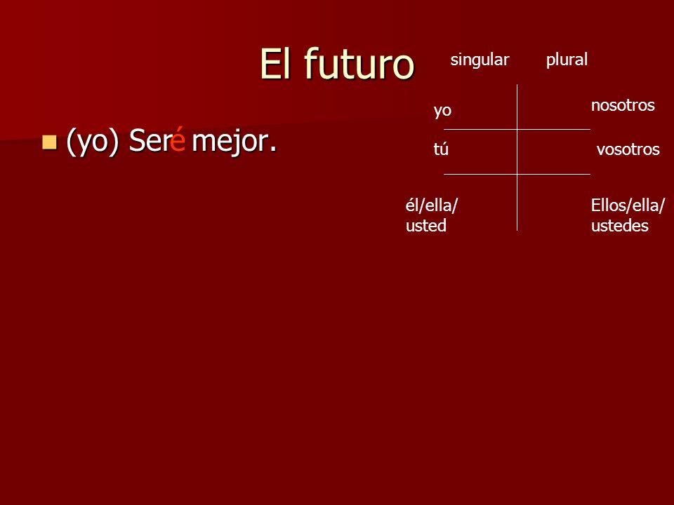 El futuro (yo) Ser mejor. (yo) Ser mejor.é yo Ellos/ella/ ustedes vosotros nosotros tú él/ella/ usted singularplural