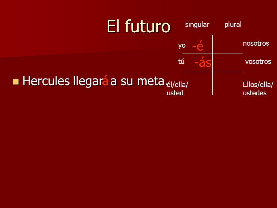 El futuro -á yo Ellos/ella/ ustedes vosotros nosotros tú él/ella/ usted singularplural -é -ás -emos -án -éis ¿Cómo será la terminación de nosotros, vosotros, ellos, etc.?