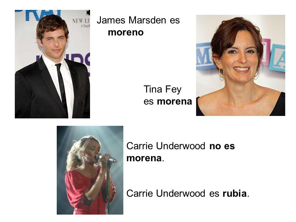 James Marsden es moreno Tina Fey es morena Carrie Underwood no es morena. Carrie Underwood es rubia.