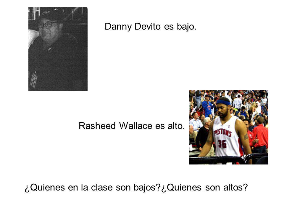 Danny Devito es bajo. Rasheed Wallace es alto. ¿Quienes en la clase son bajos ¿Quienes son altos