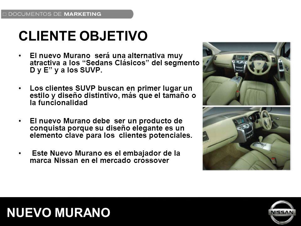 El nuevo Murano será una alternativa muy atractiva a los Sedans Clásicos del segmento D y E y a los SUVP. Los clientes SUVP buscan en primer lugar un