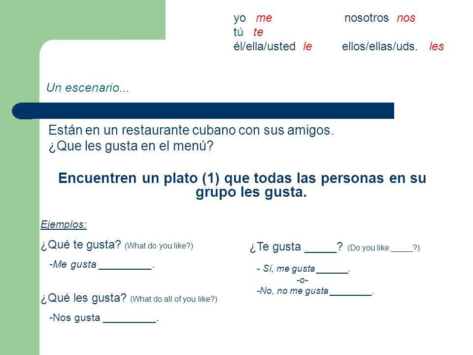 Un escenario... Están en un restaurante cubano con sus amigos. ¿Que les gusta en el menú? Encuentren un plato (1) que todas las personas en su grupo l