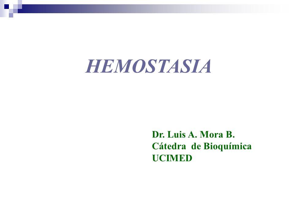 HEMOSTASIA Dr. Luis A. Mora B. Cátedra de Bioquímica UCIMED