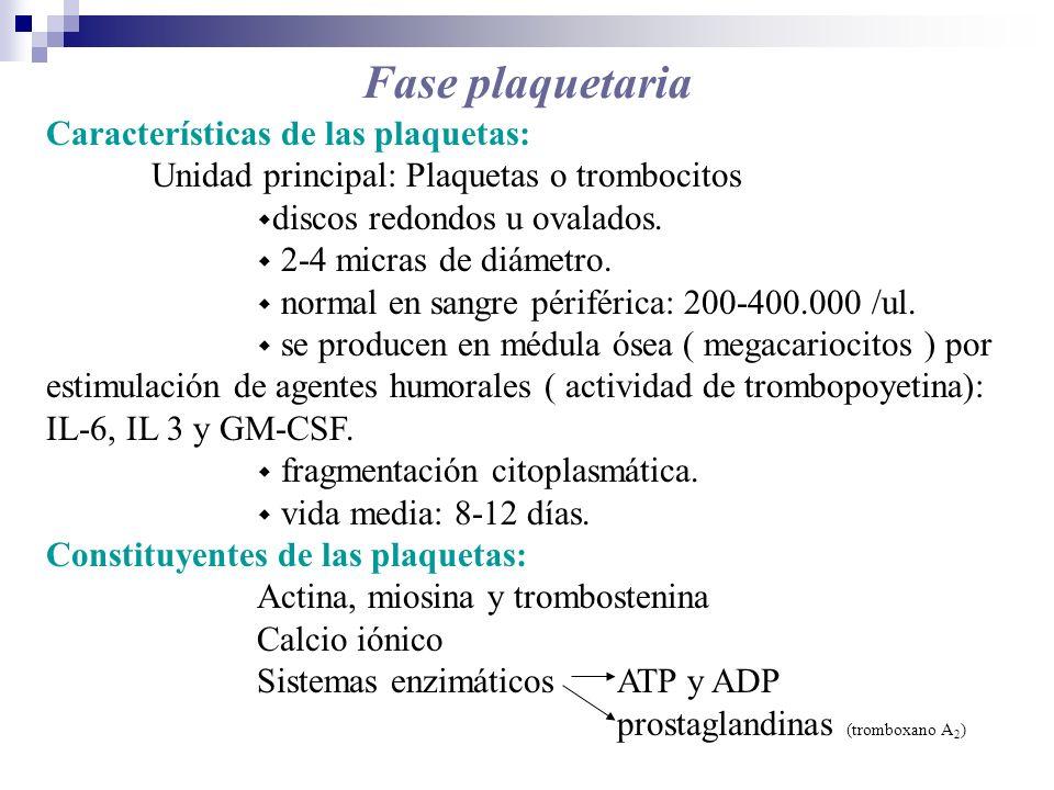 Características de las plaquetas: Unidad principal: Plaquetas o trombocitos discos redondos u ovalados. 2-4 micras de diámetro. normal en sangre périf