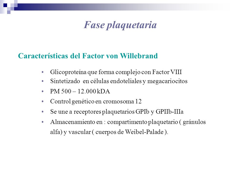 Fase plaquetaria Características del Factor von Willebrand Glicoproteína que forma complejo con Factor VIII Sintetizado en células endoteliales y mega