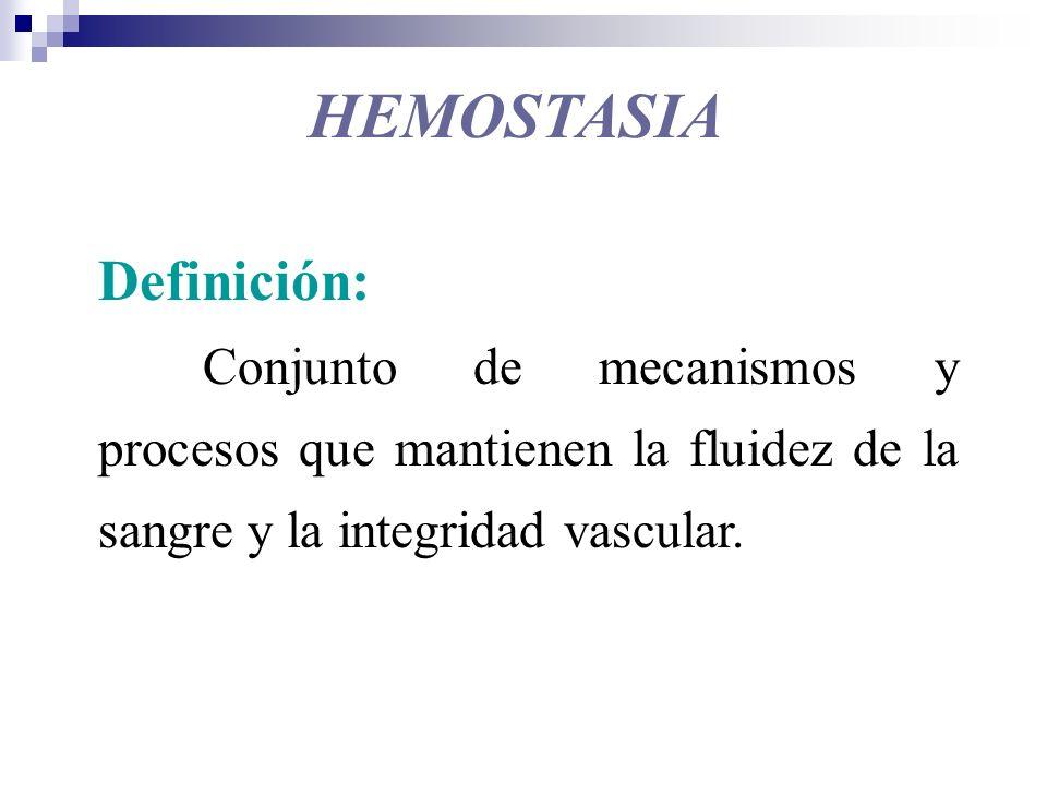 Algunas características de la hemostasia Propiedades: Mecanismo de defensa Inactivo en condiciones normales Constituido por: Proenzimas o zimógenos (proteasas) Procofactores Prot.