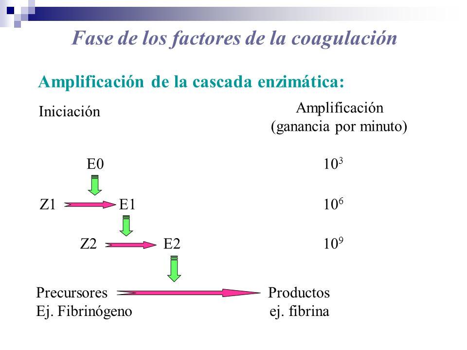 Fase de los factores de la coagulación Amplificación de la cascada enzimática: Iniciación Amplificación (ganancia por minuto) E0 Z1 E1 Z2 E2 Precursor