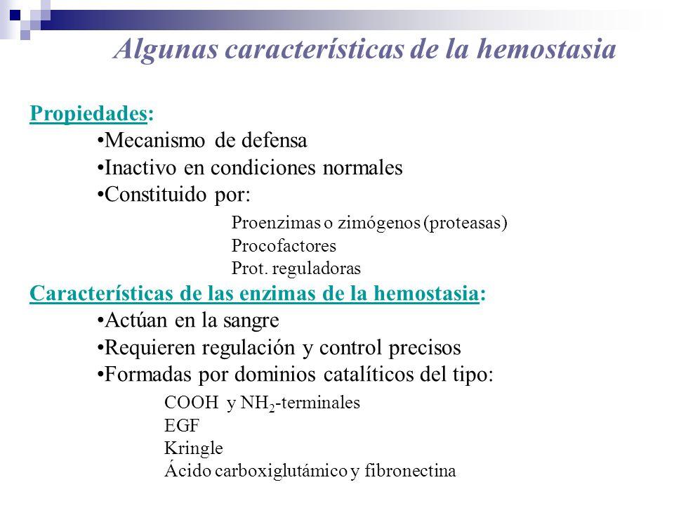 Algunas características de la hemostasia Propiedades: Mecanismo de defensa Inactivo en condiciones normales Constituido por: Proenzimas o zimógenos (p