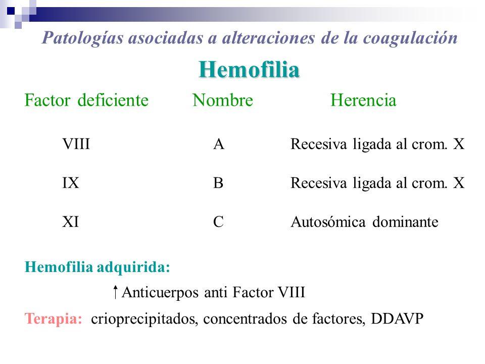 Hemofilia Factor deficienteNombreHerencia VIII IX XI ABCABC Recesiva ligada al crom. X Autosómica dominante Hemofilia adquirida: Anticuerpos anti Fact