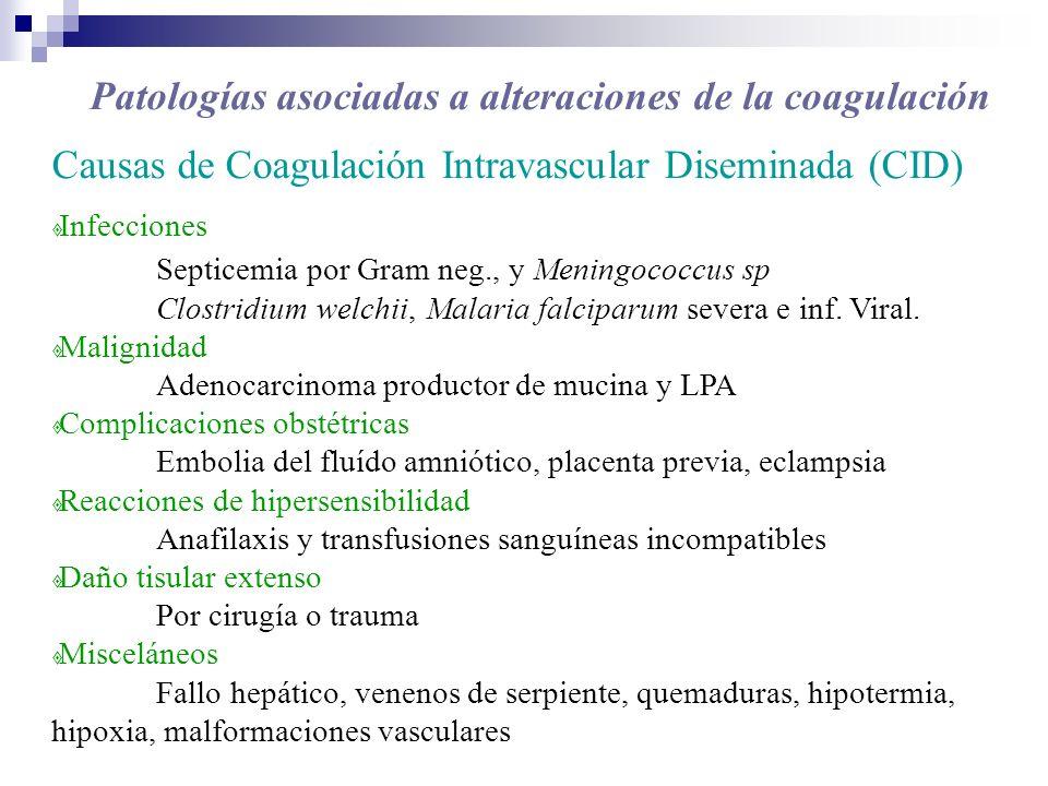 Causas de Coagulación Intravascular Diseminada (CID) Infecciones Septicemia por Gram neg., y Meningococcus sp Clostridium welchii, Malaria falciparum