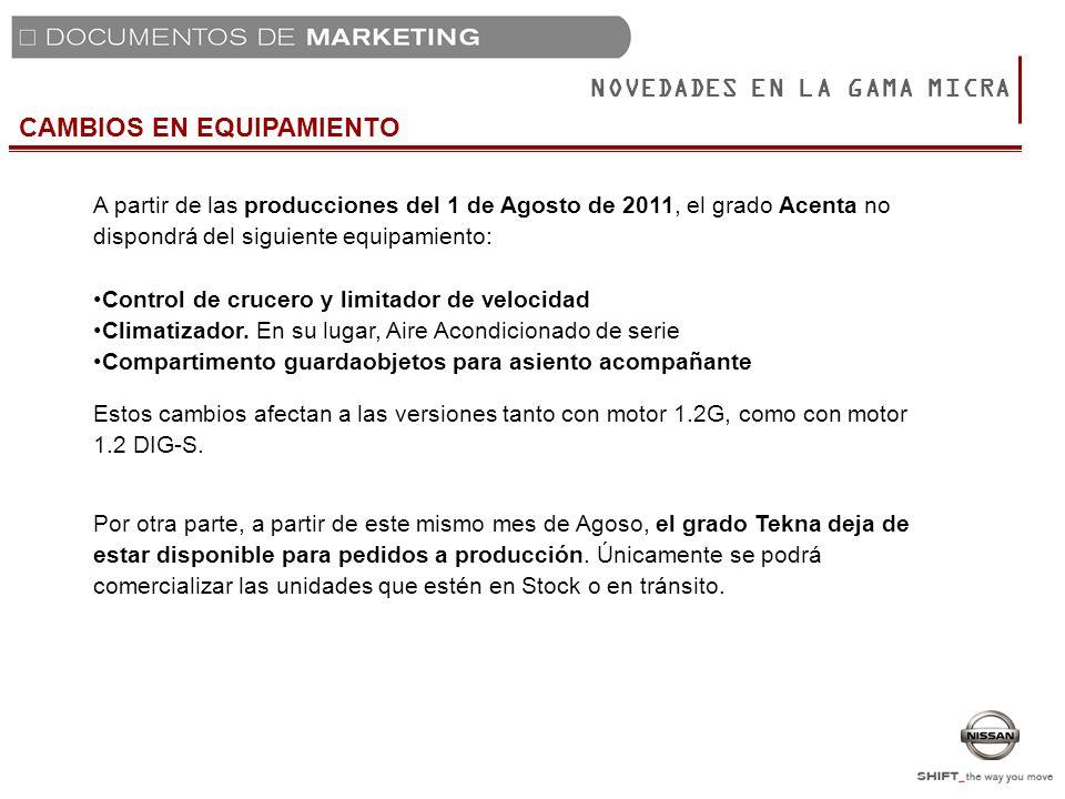 CAMBIOS EN EQUIPAMIENTO NOVEDADES EN LA GAMA MICRA A partir de las producciones del 1 de Agosto de 2011, el grado Acenta no dispondrá del siguiente eq