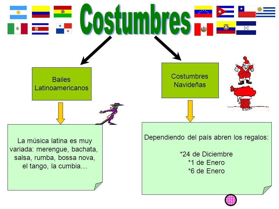 Bailes Latinoamericanos Costumbres Navideñas La música latina es muy variada: merengue, bachata, salsa, rumba, bossa nova, el tango, la cumbia… Dependiendo del país abren los regalos: *24 de Diciembre *1 de Enero *6 de Enero