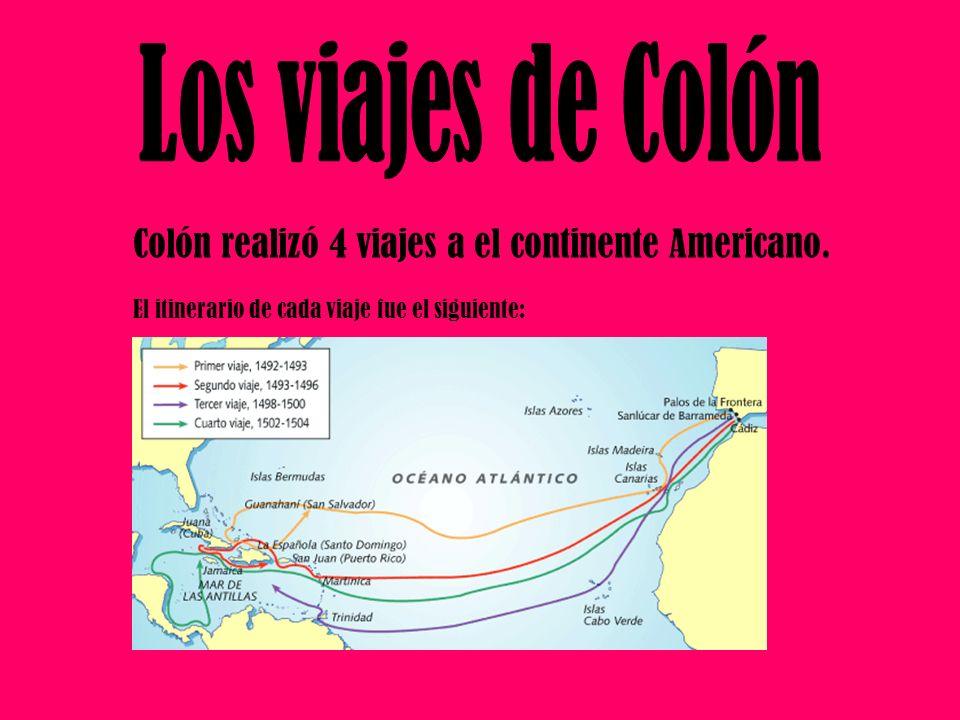 Colón realizó 4 viajes a el continente Americano. El itinerario de cada viaje fue el siguiente: