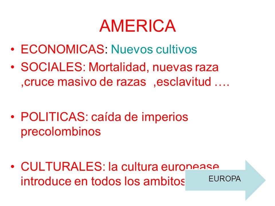 ECONOMICAS: Cultivos americanos se adaptan al clima europeo patatas maiz…, comercio ultramarino… SOCIALES: inmigración de europeos en tierras americanas.