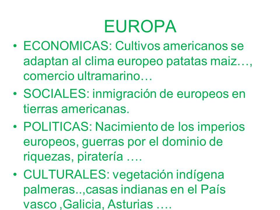 ECONOMICAS: Cultivos americanos se adaptan al clima europeo patatas maiz…, comercio ultramarino… SOCIALES: inmigración de europeos en tierras american