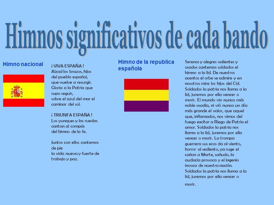 Himno nacional Himno de la republica española Serenos y alegres valientes y osados cantemos soldados el himno a la lid. De nuestros acentos el orbe se