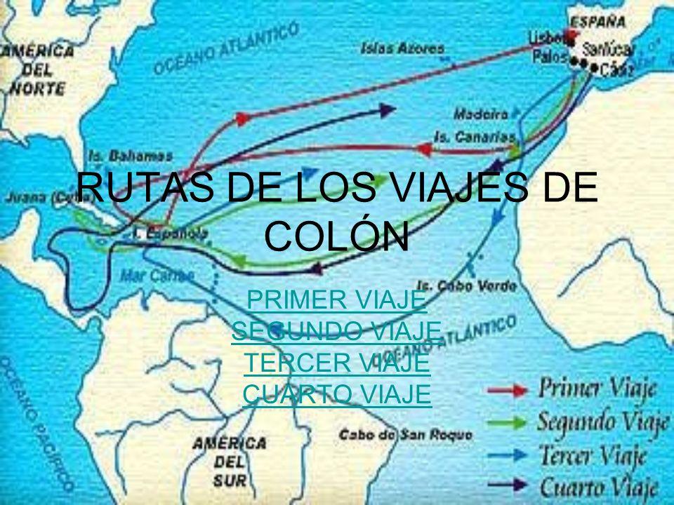 RUTAS DE LOS VIAJES DE COLÓN PRIMER VIAJE SEGUNDO VIAJE TERCER VIAJE CUARTO VIAJE