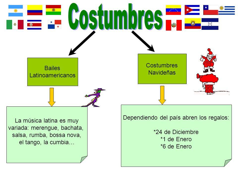 Bailes Latinoamericanos Costumbres Navideñas La música latina es muy variada: merengue, bachata, salsa, rumba, bossa nova, el tango, la cumbia… Depend