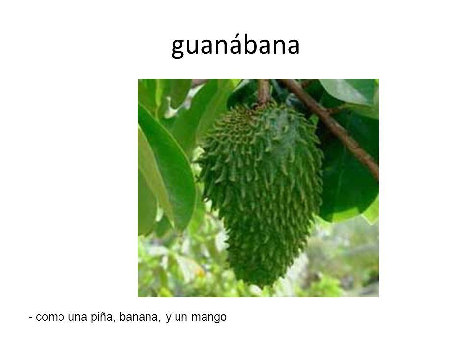 guanábana - como una piña, banana, y un mango