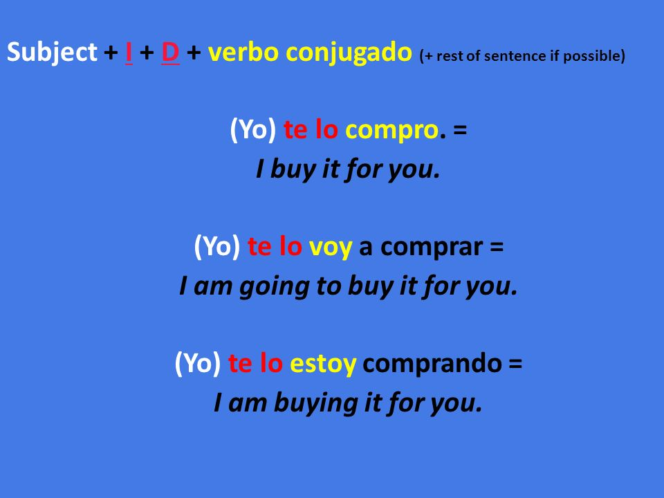 Subject + I + D + verbo conjugado (+ rest of sentence if possible) (Yo) te lo compro.