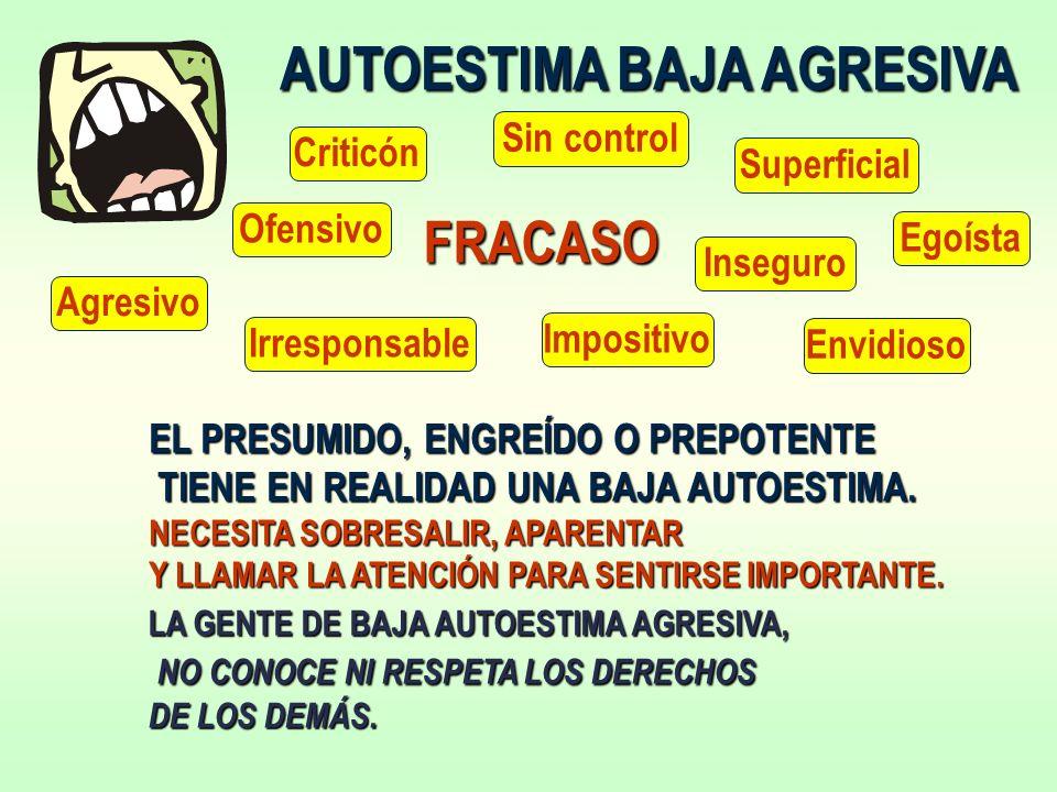 AUTOESTIMA BAJA AGRESIVA EL PRESUMIDO, ENGREÍDO O PREPOTENTE TIENE EN REALIDAD UNA BAJA AUTOESTIMA.