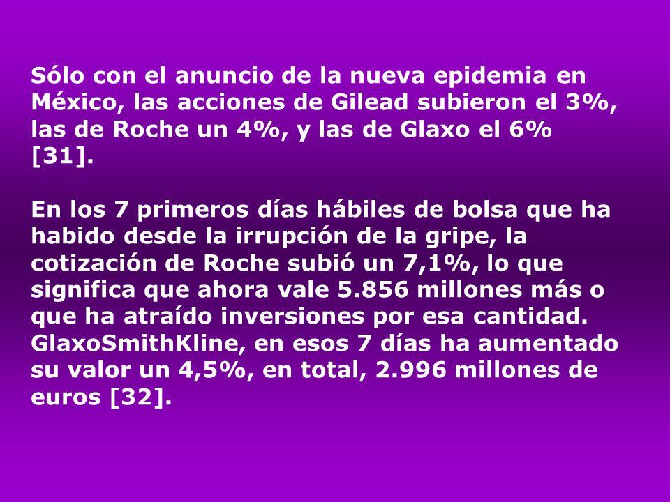 Sólo con el anuncio de la nueva epidemia en México, las acciones de Gilead subieron el 3%, las de Roche un 4%, y las de Glaxo el 6% [31]. En los 7 pri