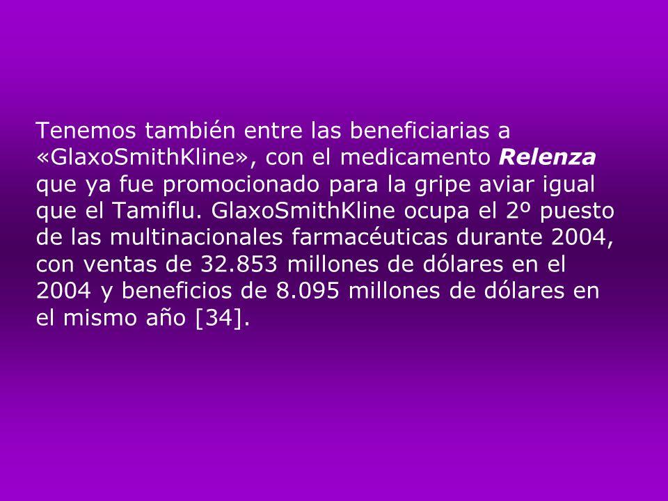 Tenemos también entre las beneficiarias a «GlaxoSmithKline», con el medicamento Relenza que ya fue promocionado para la gripe aviar igual que el Tamif