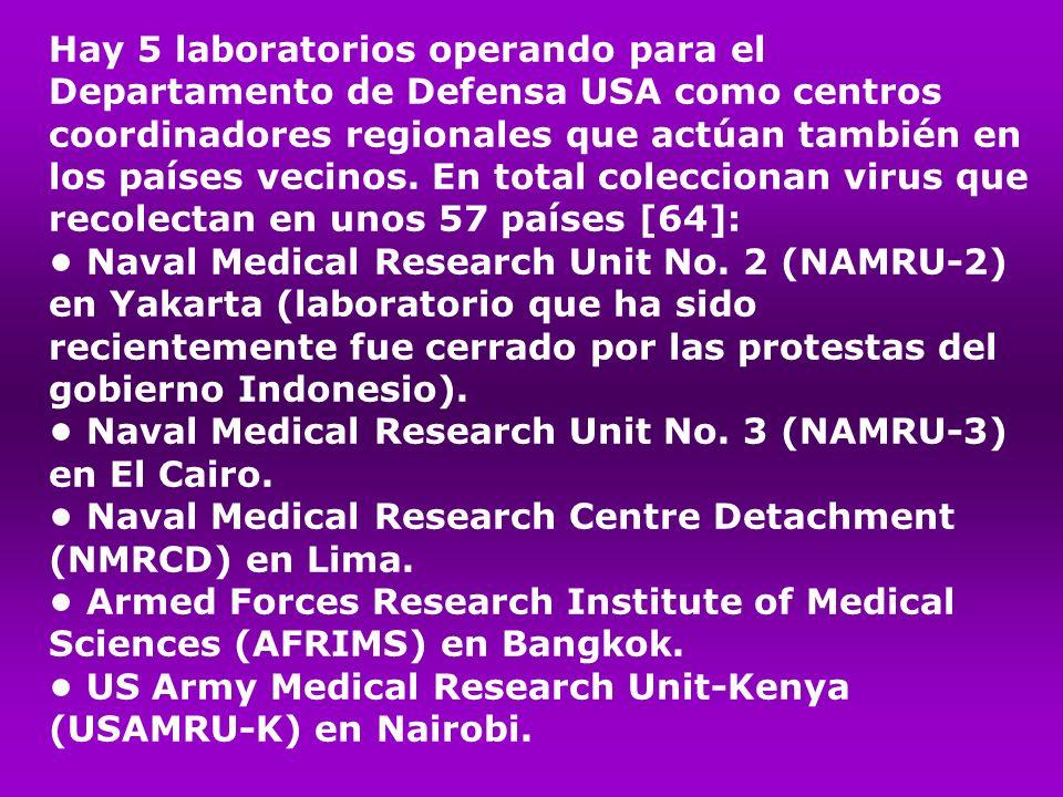 Hay 5 laboratorios operando para el Departamento de Defensa USA como centros coordinadores regionales que actúan también en los países vecinos. En tot