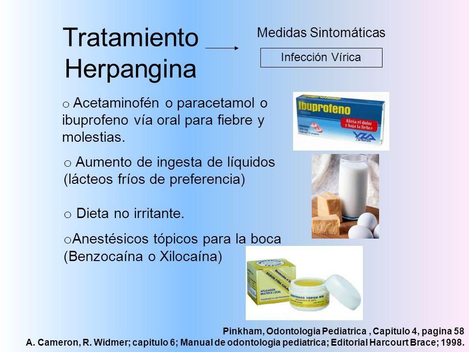 Tratamiento Herpangina Medidas Sintomáticas Infección Vírica o Acetaminofén o paracetamol o ibuprofeno vía oral para fiebre y molestias. o Aumento de