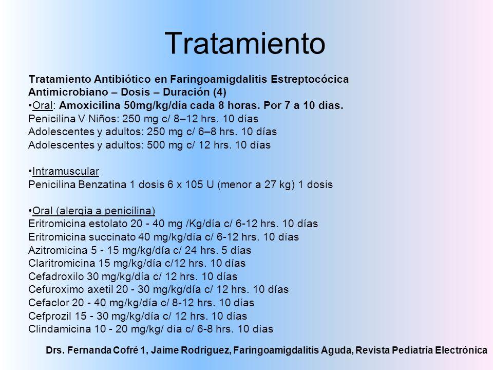 Tratamiento Drs. Fernanda Cofré 1, Jaime Rodríguez, Faringoamigdalitis Aguda, Revista Pediatría Electrónica Tratamiento Antibiótico en Faringoamigdali