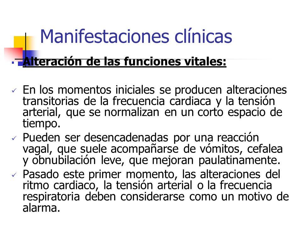 Manifestaciones clínicas Alteración de las funciones vitales: En los momentos iniciales se producen alteraciones transitorias de la frecuencia cardiac