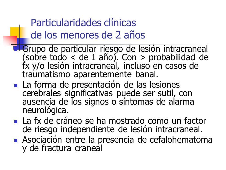 Particularidades clínicas de los menores de 2 años Grupo de particular riesgo de lesión intracraneal (sobre todo probabilidad de fx y/o lesión intracr