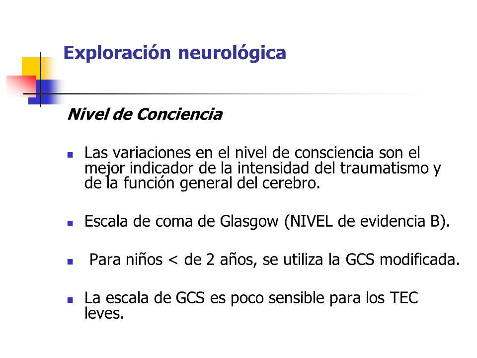 Exploración neurológica Nivel de Conciencia Las variaciones en el nivel de consciencia son el mejor indicador de la intensidad del traumatismo y de la