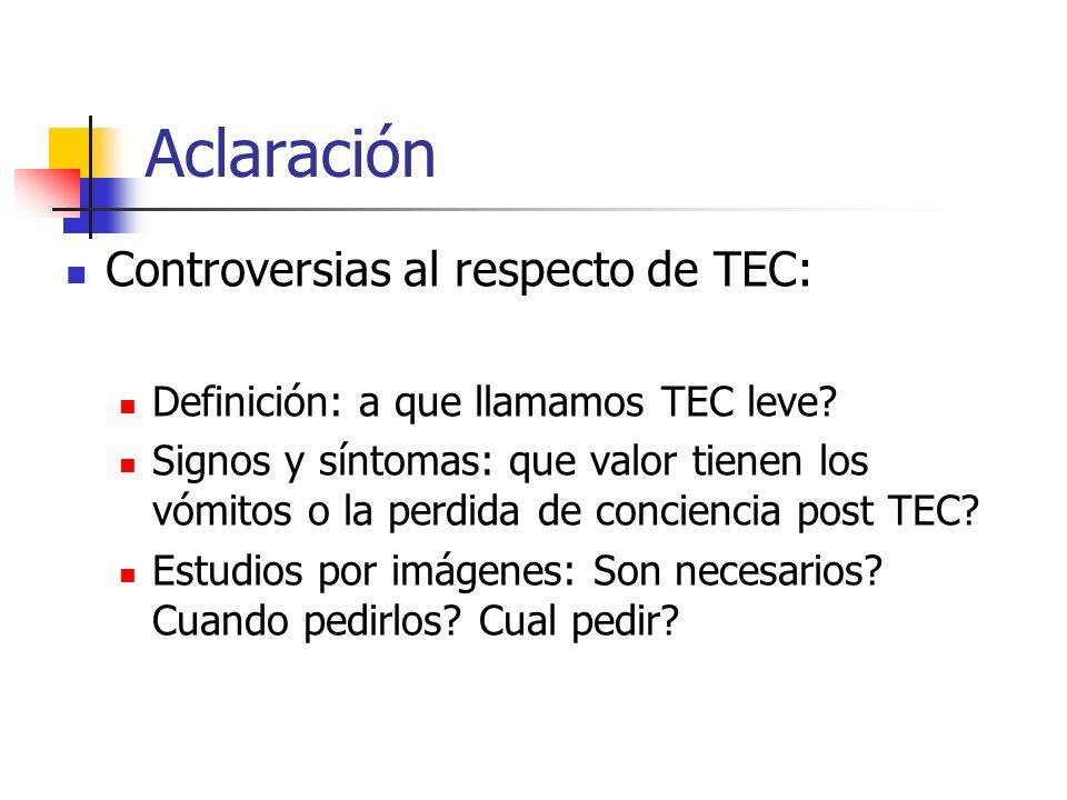 Aclaración Controversias al respecto de TEC: Definición: a que llamamos TEC leve? Signos y síntomas: que valor tienen los vómitos o la perdida de conc