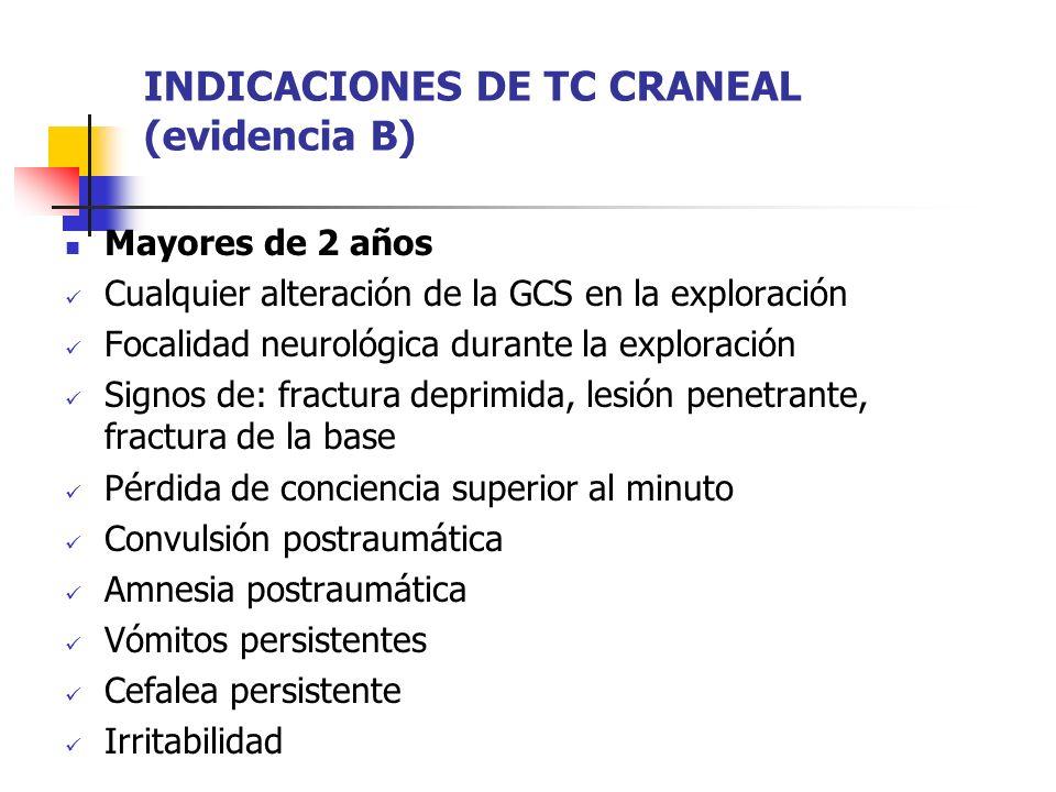 INDICACIONES DE TC CRANEAL (evidencia B) Mayores de 2 años Cualquier alteración de la GCS en la exploración Focalidad neurológica durante la exploraci