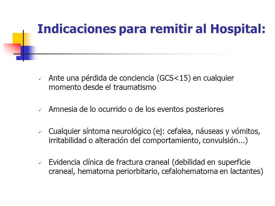 Indicaciones para remitir al Hospital: Ante una pérdida de conciencia (GCS<15) en cualquier momento desde el traumatismo Amnesia de lo ocurrido o de l