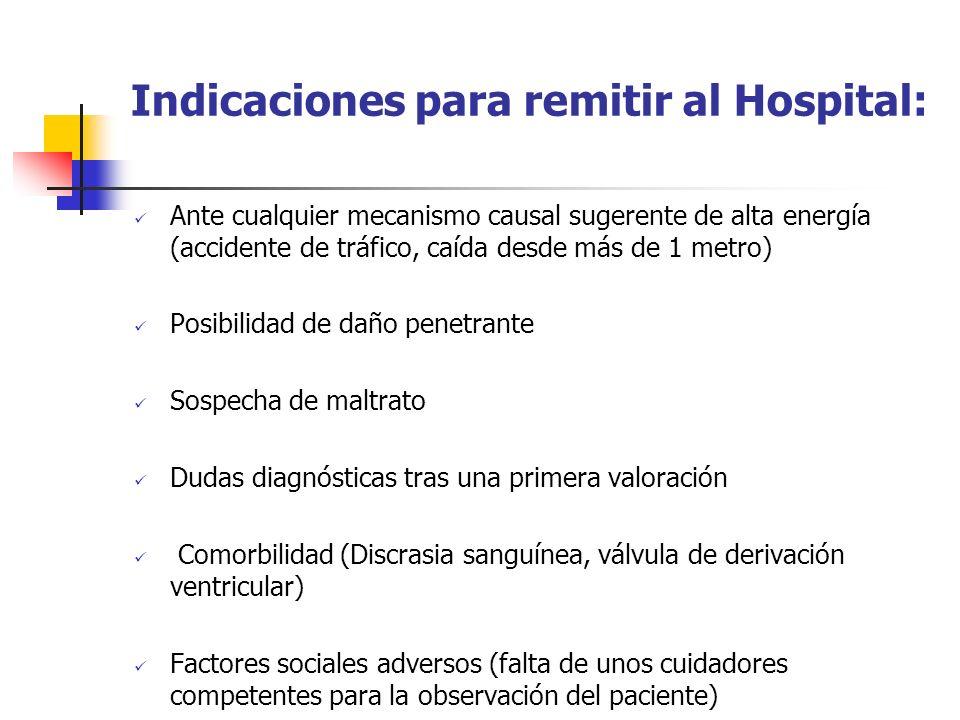 Indicaciones para remitir al Hospital: Ante cualquier mecanismo causal sugerente de alta energía (accidente de tráfico, caída desde más de 1 metro) Po