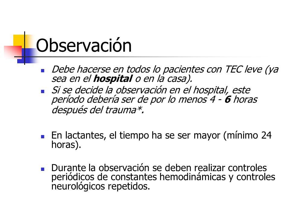 Observación Debe hacerse en todos lo pacientes con TEC leve (ya sea en el hospital o en la casa). Si se decide la observación en el hospital, este per