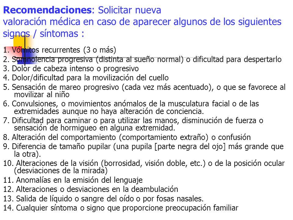 Recomendaciones: Solicitar nueva valoración médica en caso de aparecer algunos de los siguientes signos / síntomas : 1. Vómitos recurrentes (3 o más)