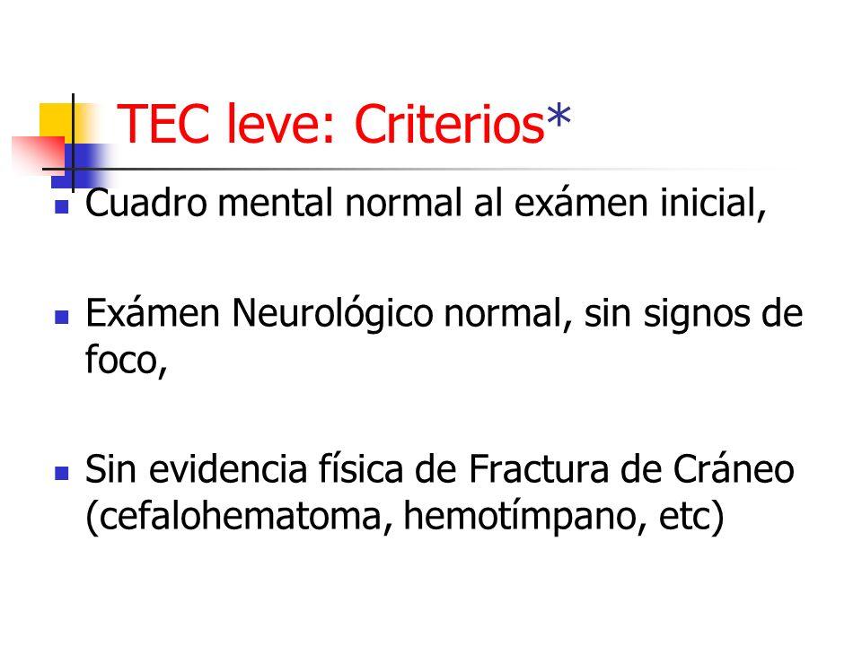 TEC leve: Criterios* Cuadro mental normal al exámen inicial, Exámen Neurológico normal, sin signos de foco, Sin evidencia física de Fractura de Cráneo