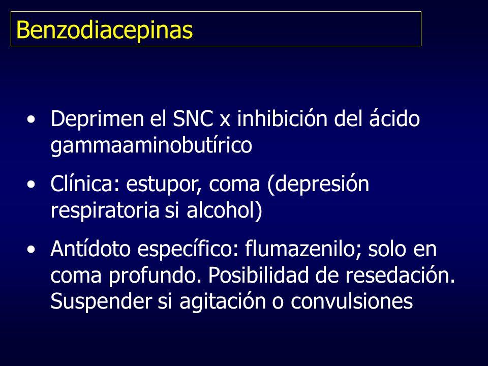 Benzodiacepinas Deprimen el SNC x inhibición del ácido gammaaminobutírico Clínica: estupor, coma (depresión respiratoria si alcohol) Antídoto específi