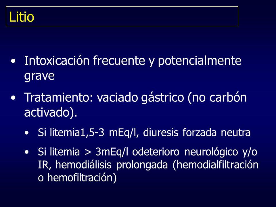 Litio Intoxicación frecuente y potencialmente grave Tratamiento: vaciado gástrico (no carbón activado). Si litemia1,5-3 mEq/l, diuresis forzada neutra
