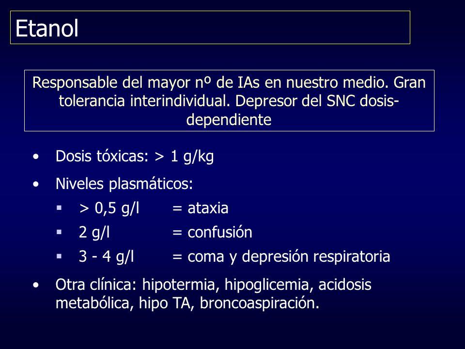 Etanol Responsable del mayor nº de IAs en nuestro medio. Gran tolerancia interindividual. Depresor del SNC dosis- dependiente Dosis tóxicas: > 1 g/kg