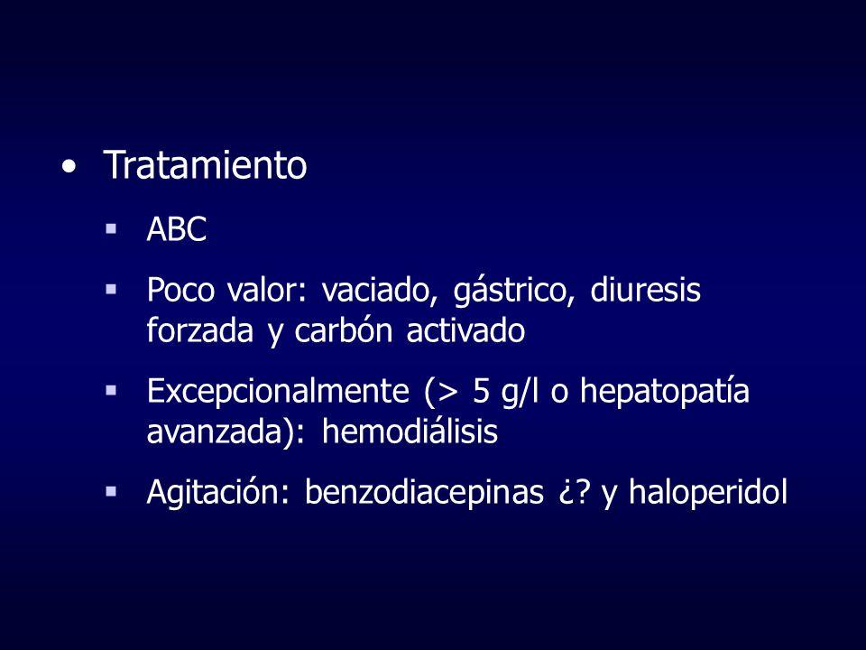 Tratamiento ABC Poco valor: vaciado, gástrico, diuresis forzada y carbón activado Excepcionalmente (> 5 g/l o hepatopatía avanzada): hemodiálisis Agit