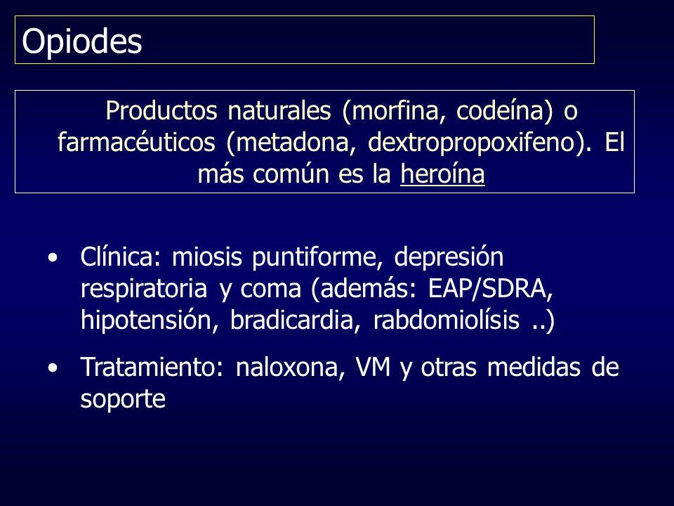 Opiodes Productos naturales (morfina, codeína) o farmacéuticos (metadona, dextropropoxifeno). El más común es la heroína Clínica: miosis puntiforme, d