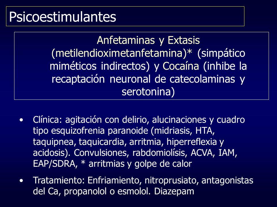 Psicoestimulantes Anfetaminas y Extasis (metilendioximetanfetamina)* (simpático miméticos indirectos) y Cocaína (inhibe la recaptación neuronal de cat