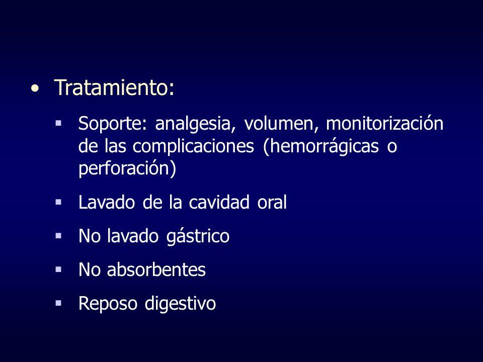 Tratamiento: Soporte: analgesia, volumen, monitorización de las complicaciones (hemorrágicas o perforación) Lavado de la cavidad oral No lavado gástri